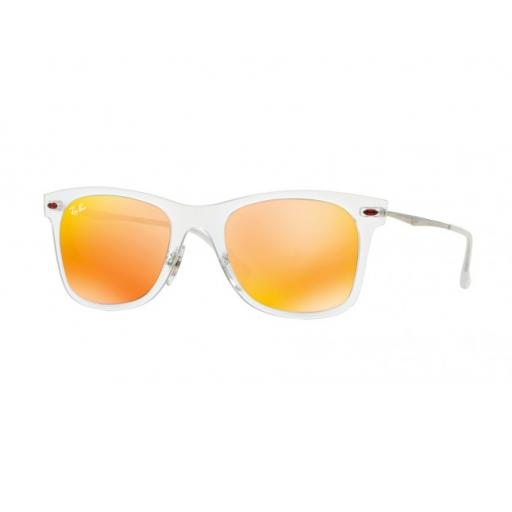 RAY-BAN WAYFARER LIGHT RAY RB4210 MATTE TRANSPARENT RED MIRROR